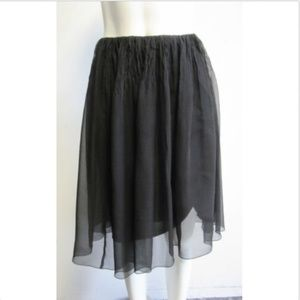 CHANEL silk crepe black ruched full skirt sz 40/ 8